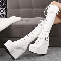 Knee High Platform Boots, Black Platform Wedges, Platform Shoes, Knee Boots, Dr Shoes, Goth Shoes, Kawaii Shoes, Prom Heels, Lace Up Wedges