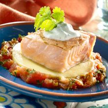 Grilled Salmon over Manchego Funche - This dish merges Manchego, a popular Spanish cheese with the traditional Puerto Rican-style polenta, called funche. To round off the elegant entrée, we adorn it simply with pico de gallo and cilantro. Carribean Food, Caribbean Recipes, Pork Recipes, Seafood Recipes, Goya Recipes Puerto Rico, Goya Sazon Recipe, Creole Cooking, Salmon Seasoning, Salmon Dishes
