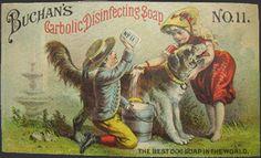 Buchan's Carbolic Soap Trade Card ~ Dog Gets Shampoo