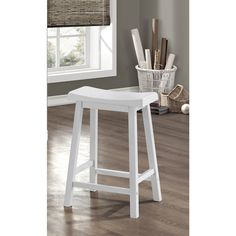 Relax and enjoy your drink or game with this two-piece white bar stool set. These saddle-seat bar stools features a contoured seat that provides hours of comfort while you eat or chat with a friend, a