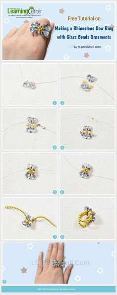 Free Tutorial on Making a Rhinestone Bow Ring with Glass Beads Ornaments