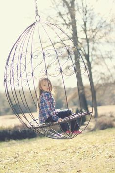 This reminds me of a swing that my Grandparents used to have in their backyard when I was a little girl. Hammock Swing Chair, Swinging Chair, Swing Chairs, Outdoor Spaces, Outdoor Living, Outdoor Decor, Cool Swings, Hanging Beds, Garden Yard Ideas