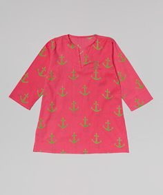 This Hot Pink Anchor Initial Cover-Up - Girls is perfect! #zulilyfinds