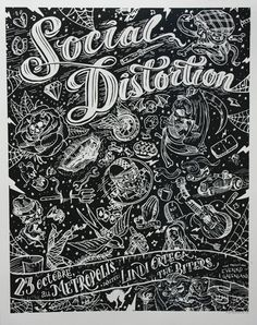 Gig Poster Designs We're Obsessed with & Free Poster Mockup PSD from your friends at Go Media's Arsenal Tour Posters, Band Posters, Music Posters, Social Distortion, Punk Poster, Gig Poster, Rock And Roll Bands, Rock Roll, Hybrid Moments