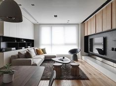 The Origin of the Polished Whetstone_Design Apartment-Design director Tang,Chung han-Interior design Living Room Tv, Interior Design Living Room, Home And Living, Living Room Designs, Sala Grande, Apartment Interior Design, Condo Design, Living Room Inspiration, Simple House