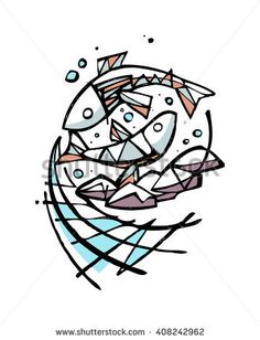 Hand drawn vector illustration or drawing of five breads and two fishes, representing the biblical miracle of Jesus Christ