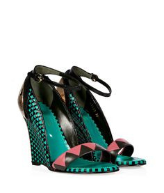 Turquoise/Black Woven Leather Wedges with Metal Heel by Sergio Rossi (sold by STYLEBOP.com) £1300.00