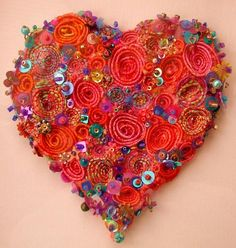 Machine couched heart and beads by Bev Holmes-Wright @ www.stitchingforthesoul.co.uk