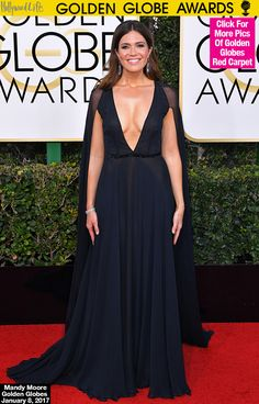 Mandy Moore Flaunts Major Cleavage In Gorgeous Caped Gown At GoldenGlobes