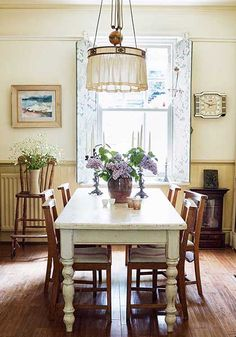 neutral dining room table with chapel chairs
