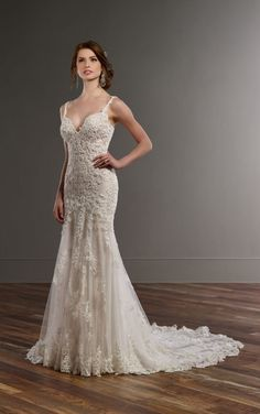 817 Low back wedding dress with beaded lace by Martina Liana