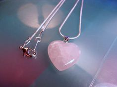 Heart Rose Quartz Pendant with Silver Tone Alloy 17-inch Snake Chain-High Quality Snake Chain-25mm Heart Rose Quartz Pendant
