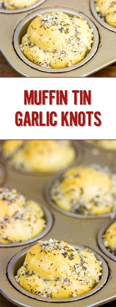 These Muffin Tin Garlic Knots are easy and delicious...and they're the perfect game-time appetizer! #garlic #superbowlappetizer #muffintin #garlicbread