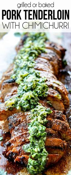 This Grilled Pork Tenderloin recipe is buttery tender with a caramelized smoky brown sugar, paprika, garlic rub kissed with a hint of lime. It's then smothered in a vibrant, tangy, fresh Cilantro Jalapeno Chimichurri Sauce. Grilled Pork Tenderloin Rub, Healthy Pork Tenderloin Recipes, Roast Brisket, Pork Roast, Grilled Pork Tenderloins, Left Over Pork Tenderloin Recipe, Pork Chops, Pork Tenerloin, Leftover Pork