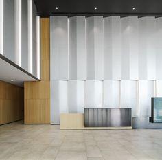 MDO have completed the first two of four office towers in Xi'an's Hi-Tech Industrial Development Zone. The towers are the phase of a larger office campus masterplan. At the centre of the new design is a landscaped park which acts as a green community Office Building Lobby, Office Lobby, Lobby Interior, Interior Architecture, Interior Design, Acoustic Architecture, Halle, Lobby Reception, Reception Desks