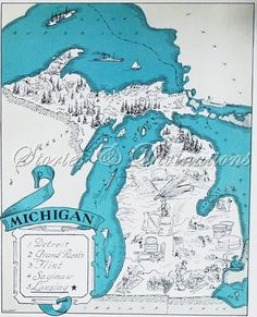 Michigan - Vintage Map of Michigan - Aqua - Cottage Chic - A Fun and Funky 1930s Vintage Michigan Picture Map to Frame. $21.00, via Etsy.
