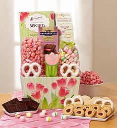 Send someone special a sweet treat for Spring with our Spring Has Sprung Tulips sweet box filled with delicious gourmet treats from chocolate pretzels to candied popcorn!