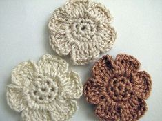 Crochet Flower Appliques - 6 Petal, Flat, Small Flowers in Pretty, Neutral Colors - 12 Crochet Puff Flower, Flower Applique, Crochet Flowers, Cotton Crochet, Thread Crochet, Knit Crochet, Floral Scarf, Small Flowers, Neutral Colors