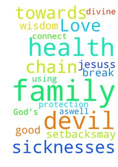God's Love towards my family and divine health -  Help me to pray for my family for the good health aswell as wisdom and protection from Devils setbacks.May God break every chain of sicknesses that devil is using to connect himself to me and my family in Jesuss name  Posted at: https://prayerrequest.com/t/xTw #pray #prayer #request #prayerrequest