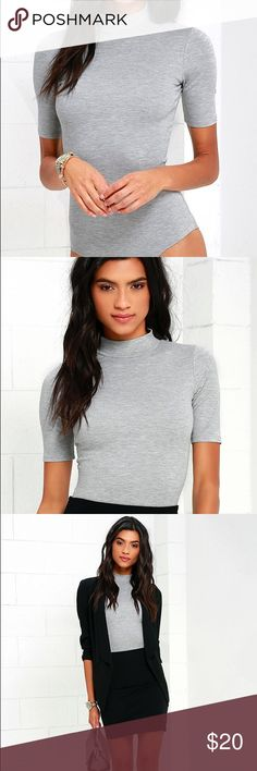 LULUS WHENEVER WEAR-EVER HEATHER GREY BODYSUIT Worn 1x in perfect condition. If you're looking for versatility, the Whenever Wear-ever Heather Grey Bodysuit is the answer to your prayers! Sleek knit bodysuit begins at a mock neckline that fastens with hidden buttons above a back cutout. Short sleeves frame a fitted bodice that flows into a cheeky brief bottom with two snap closures. Unlined. 70% Rayon, 25% Nylon, 5% Spandex. Lulu's Other