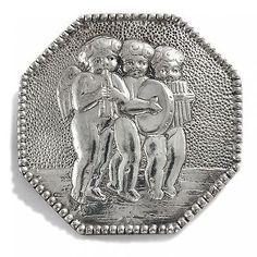 Putten! Jugendstil Brosche aus Silber, Berlin um 1910, Engelchen Musik Engel WW