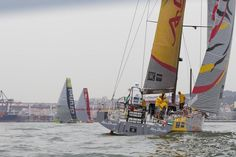 Overall leader Abu Dhabi, chases the fleet out of Lisbon - Volvo Ocean Race. Leg 8 start, Lisbon, Portugal to Lorient, France. ©  Ian Roman / Abu Dhabi Ocean Racing