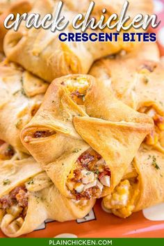 Crack Chicken Crescent Bites - Chicken, bacon, cheddar, and ranch baked in crescent rolls. SO addictive!!! I took these to a party and they flew off the plate. You might want to double this recipe. Everyone RAVES about this easy chicken recipe. Great for tailgating, parties, lunch, and dinner. Can make the chicken mixture ahead of time and assemble crescents when ready to bake. SO GOOD!!! #chicken #appetizer #lunch #dinner #ranch #bacon #partyfood #gameday #tailgating Chicken Appetizers, Yummy Appetizers, Appetizers For Party, Appetizer Recipes, Snack Recipes, Chicken Bites, Crack Chicken, Chicken Bacon, Chicken Treats