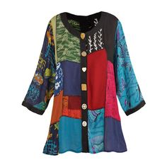 online shopping for Women's Open Front Tunic Top - Novelty Button Patchwork Fashion Jacket from top store. See new offer for Women's Open Front Tunic Top - Novelty Button Patchwork Fashion Jacket Blouses For Women, Jackets For Women, Boho Fashion, Fashion Outfits, Fashion Top, Fashion Women, Fashion Ideas, Bohemian Mode, Print Jacket