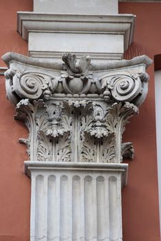 Composite capital from 43, King Street, Westminster. This house was built for Admiral Russell, 1st earl of Orford, in 1716-17, probably to designs by Thomas Archer. The admiral's social connections may have helped him break the uniformity of Inigo Jones's Covent Garden piazza which the house overlooks. The house is of brick with stone dressings, the painted stucco being added at a later date. It has three storeys with an attic and basement. The facade has four giant Composite fluted p...
