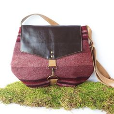 satchel  wool crossbody bag  winter red striped by RACHELelise on Etsy