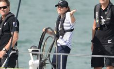 I just love this woman! Kate joking around with Wills after she beat him in TWO races on board the Americas Cup yacht in Auckland Harbour!