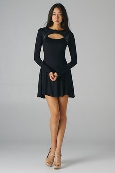 Pleather Inset Cut out Fit and Flare Dress//