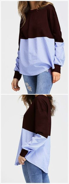 Casual Round Neck Long Sleeve Splicing Sweatshirt - Best Sewing Tips Diy Clothing, Sewing Clothes, Dress Sewing, Umgestaltete Shirts, Robe Diy, Sweatshirt Refashion, Clothes Refashion, Sweatshirt Dress, Diy Vetement