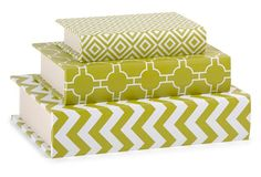 $29 Asst. of 3 Essentials Book Boxes, Green Man, what an eyecatching stack for the shelves!