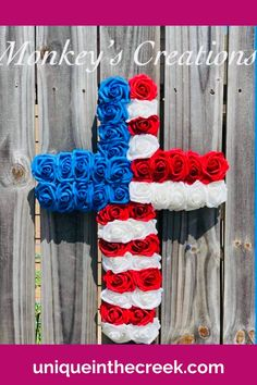 This amazing patriotic cross wreath was crafted using a Unique in the Creek cross wreath board by Monkey's Creations! Create your very own patriotic wreath decor like this gorgeous 4th of July wreath project or come up with your very own patriotic wreath design inspired by creations at Unique in the Creek today! #patrioticwreath #diywreath #uitc Patriotic Wreath, 4th Of July Wreath, Do It Yourself Organization, Cross Wreath, 4th Of July Decorations, Wreath Tutorial, Diy Door, Bridal Shower Decorations, Diy Wreath