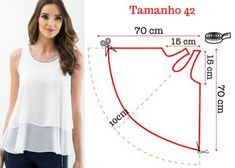 Sewing Blusas molde blusa gode - Aprende a hacer una blusa godet en pocos pasos. Dress Sewing Patterns, Blouse Patterns, Sewing Patterns Free, Clothing Patterns, Blouse Pattern Free, Sewing Hacks, Sewing Tutorials, Sewing Projects, Sewing Ideas