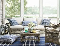 Decorating ideas from inside Martha MacCallum's Cape Cod home, including living room decorating, beach house decor, bedroom decorating ideas, and more. Wicker Furniture, Outdoor Furniture Sets, Rattan Sofa, Sunroom Furniture, My Pool, Beach House Decor, Home Decor, Living Room Remodel, Porches