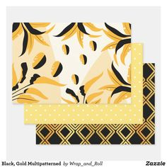 Black, Gold Multipatterned Wrapping Paper Sheets Out Of The Closet, Paper Products, Print Wrap, Party Accessories, Creative Gifts, Gift Bags, Black Gold, Showers, Party Favors