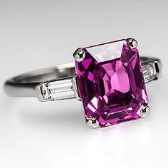 Emerald Cut Pink Sapphire Engagement Ring w/ Diamonds Platinum