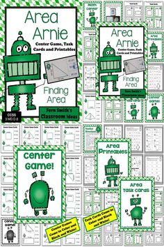 Area Arnie Mega Math Pack - Finding Perimeter Printables, Task Cards and Center Game For 3.MD.D.8 ~ 48 Pages! #TPT $Paid