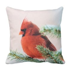 Cardinal in Snow Dusted Fir Throw Pillow
