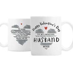 Personalised Ceramic Mug - Happy Valentine's Day Happy Valentines Day, Valentine Day Gifts, Personalized Valentine's Day Gifts, Character Words, Cute Mugs, Brand Names, Messages, Ceramics, How To Make
