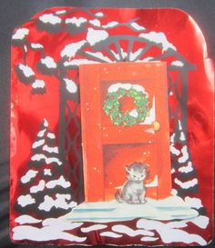 Vintage Christmas Greeting Card Kitten Hide a Note Red Foil Mid Century