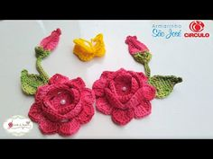 Flor, folhas, botão e borboleta para aplicação no jogo de banheiro ROSANA - YouTube