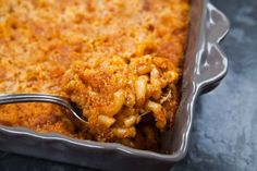 Chorizo Mac & Cheese! Baked mac cheese with cheddar cheese, pepper jack, and Mexican chorizo. Cheesy and spicy!