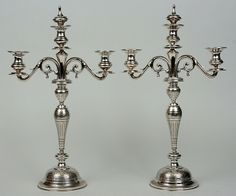Pair of Austro-Hungarian tall (51 cm) silver 800 candelabras by Gustav Emanuel Eitel, 1903-1924