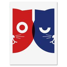 Silkscreen, Dueling Watson the Cat, mediumcontrol-Etsy