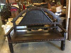 Antique Teak Sofa Indian Bench Hand Carved Iron Patina Vintage Dark Wood Home Decor Indian Furniture, Iron Furniture, Classic Furniture, Online Furniture, Painted Furniture, Handmade Furniture, Unique Furniture, Vintage Furniture, Rustic Furniture