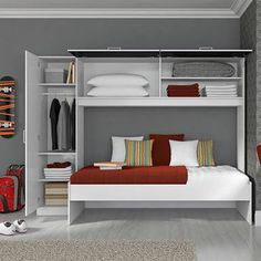 Built-in beds are options for decorating small spaces Baby Bedroom, Kids Bedroom, Bedroom Decor, Tropical Bedrooms, 60 Kg, Built In Bed, Bed Wall, Upper Cabinets, Decorating Small Spaces