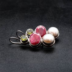 Your place to buy and sell all things handmade Statement Earrings, Drop Earrings, Green Peridot, Natural Red, White Women, Pearl White, Sterling Silver Earrings, Gemstone Rings, Fine Jewelry